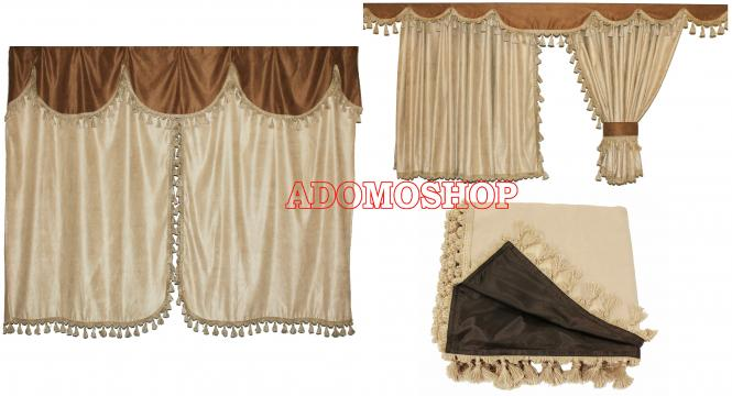 adomo lkw shop volvo lkw gardinen beige braun mix lkw zubeh r. Black Bedroom Furniture Sets. Home Design Ideas