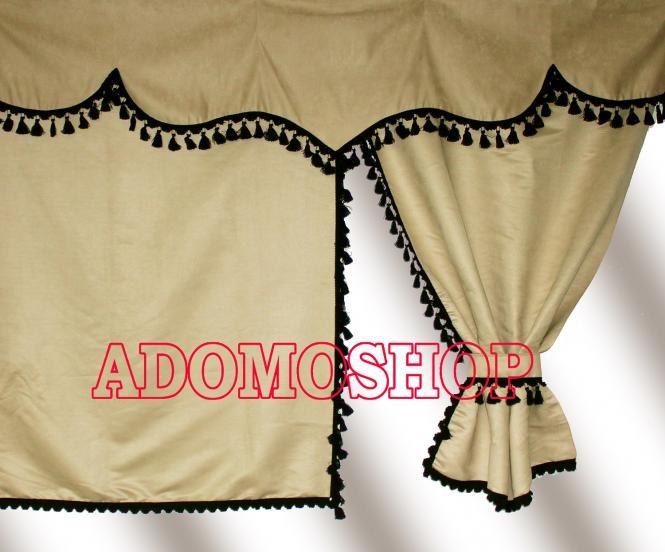 adomo lkw shop gardinen f r actros mp4 beige schwarz. Black Bedroom Furniture Sets. Home Design Ideas
