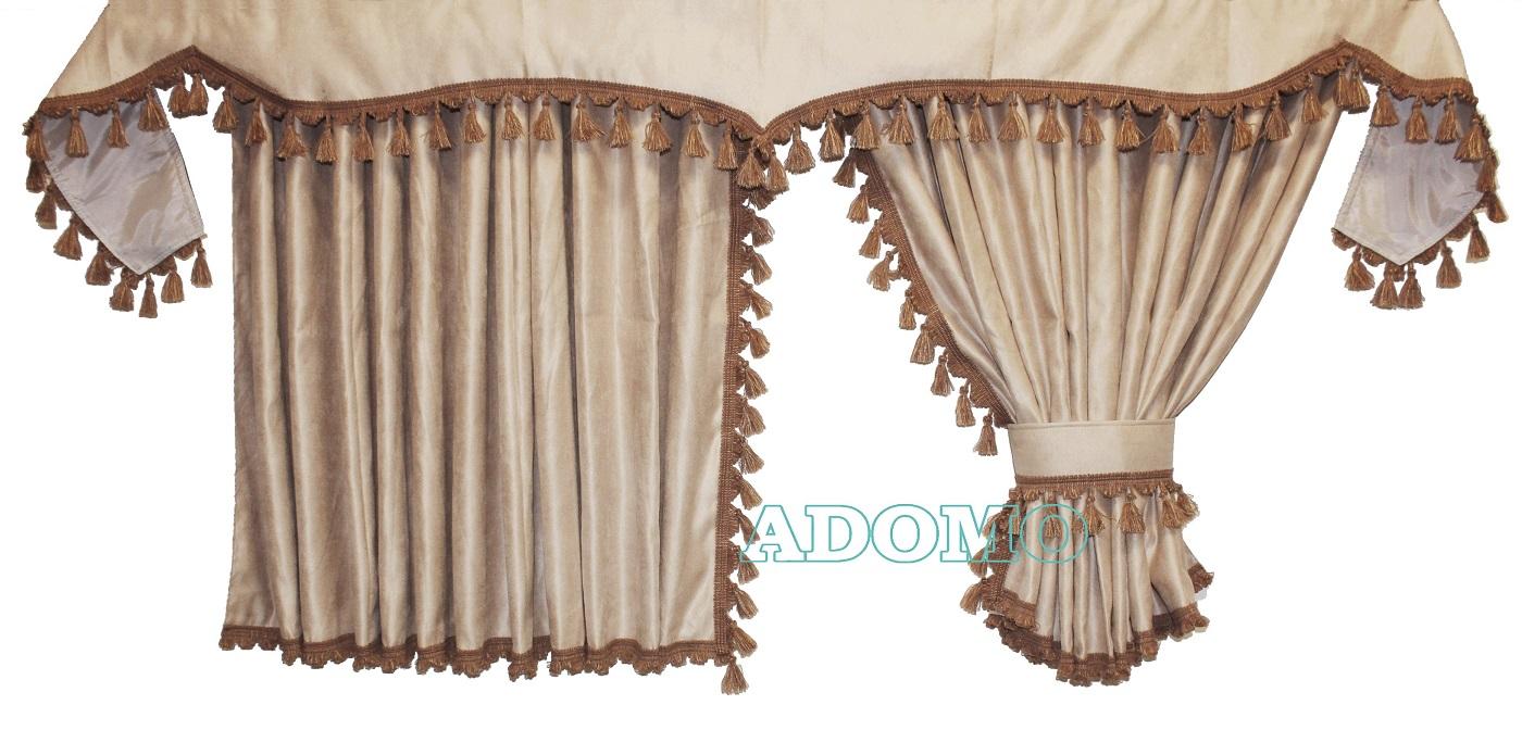 adomo lkw shop scania gardinen beige braun unterstoff. Black Bedroom Furniture Sets. Home Design Ideas