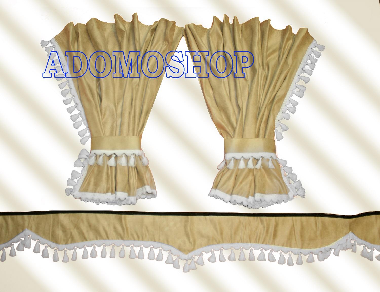 adomo lkw shop scania gardinen beige weiss lkw zubeh r. Black Bedroom Furniture Sets. Home Design Ideas