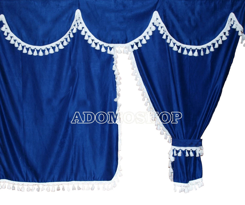 adomo lkw shop lkw gardinen f r actros mp4 blau weiss. Black Bedroom Furniture Sets. Home Design Ideas