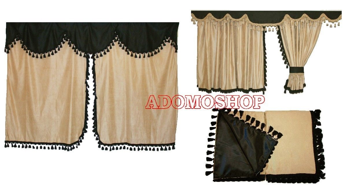 adomo lkw shop lkw gardinen f r actros mp4 beige schwarz. Black Bedroom Furniture Sets. Home Design Ideas