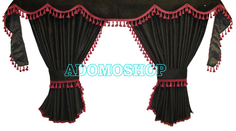 adomo lkw shop gardinen f r volvo fh4 schwarz bordorot fransen 4cm lkw zubeh r. Black Bedroom Furniture Sets. Home Design Ideas