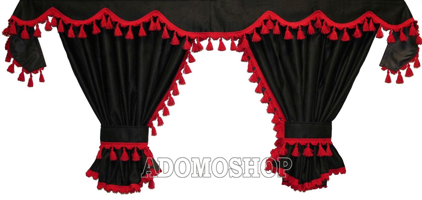 Adomo LKW Gardinen passend zum DAF XF 106 in schwarz mit roten Pompoms//Kugel