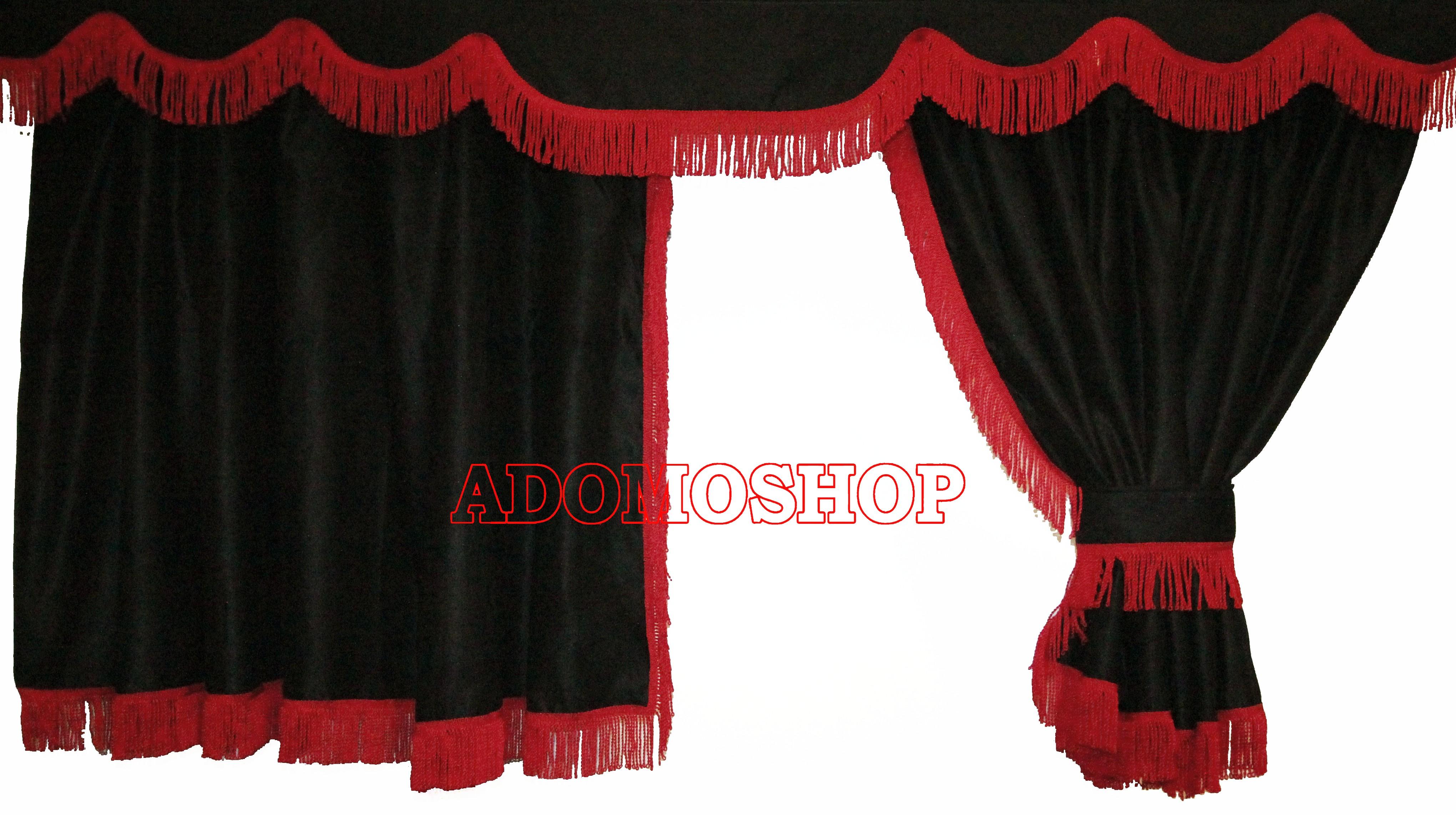 Adomo LKW Shop | Volvo Gardinen, schwarz rot | LKW Zubehör