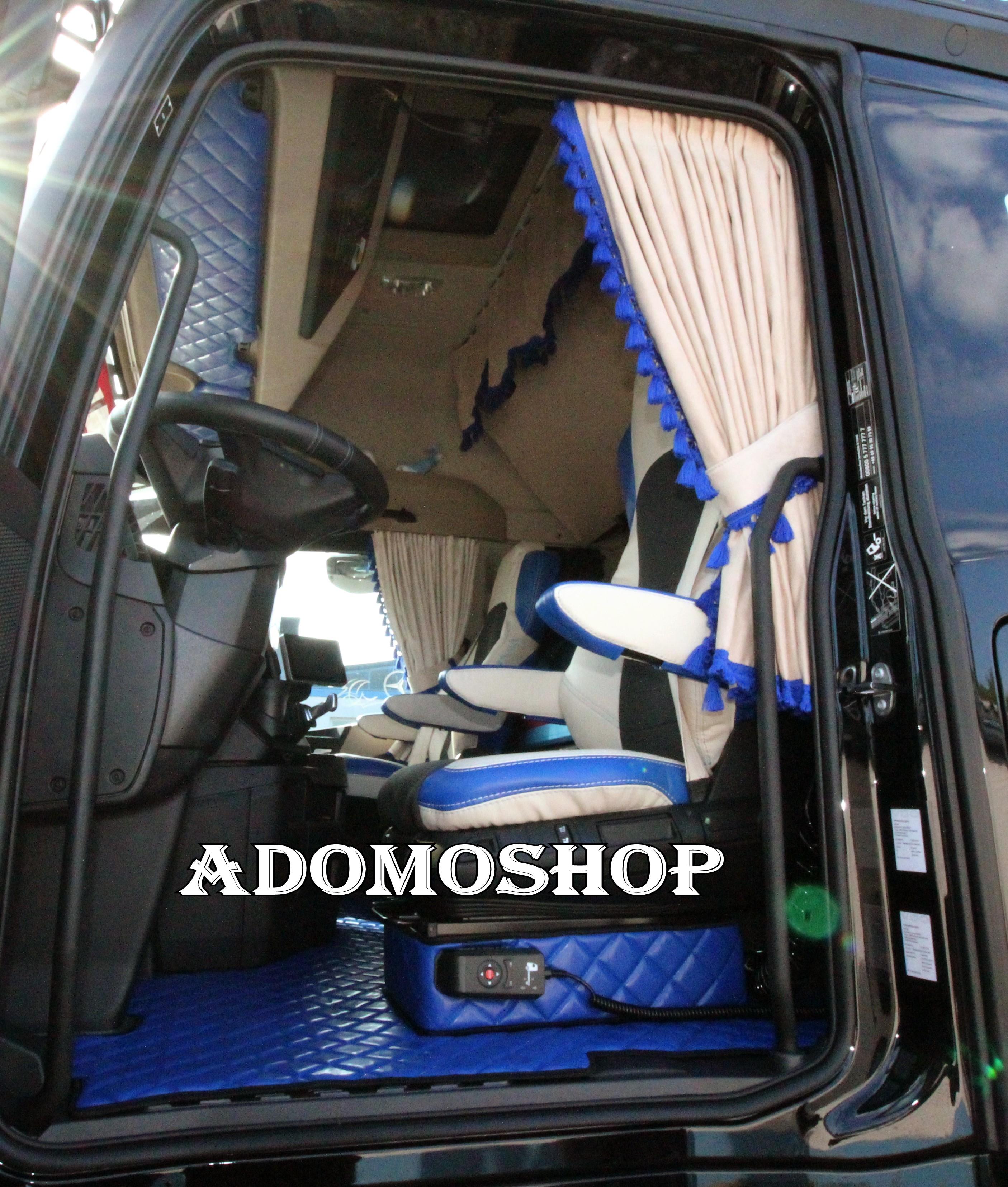 adomo lkw shop gardinen actros mp4 beige blau lkw zubeh r. Black Bedroom Furniture Sets. Home Design Ideas